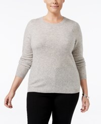 Charter Club Plus Size Cashmere Crewneck Sweater Only At Macy's Heather Crystal