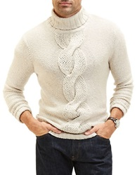 Nautica Front Cable Knit Turtleneck Oatmeal Heather