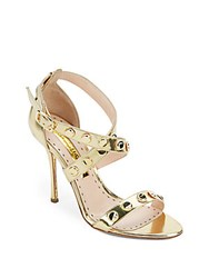 Rupert Sanderson Studded Metallic Leather Sandals Gold