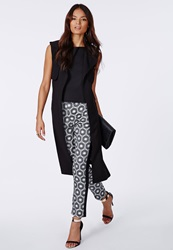 Missguided Alanah Geo Brocade Contrast Panel Trousers Black Black