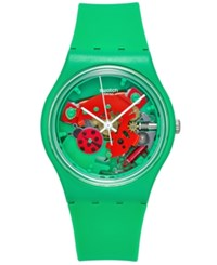 Swatch Unisex Swiss Choupette Green Silicone Strap Watch 34Mm Gg220