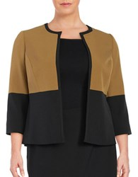 Nipon Boutique Plus Colorblocked Blazer Bronze Black