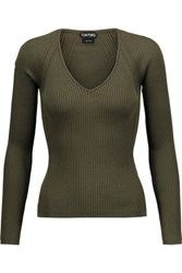 Tom Ford Pointelle Trimmed Ribbed Silk Blend Top Army Green