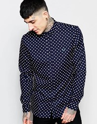 Fred Perry Shirt With Polka Dot Print In Slim Fit Navy
