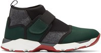 Marni Green Neoprene High Top Sneakers
