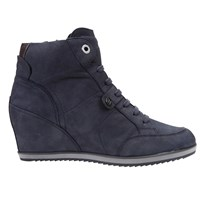 Geox Illusion Wedge Heeled Lace Up Trainers Blue Leather