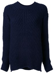 Closed Cable Knit Jumper Blue