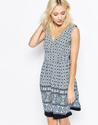 Yumi Border Print V Neck Skater Dress With Tie Back Black Blue