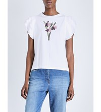 Red Valentino Ruffle Sleeve Embroidered Cotton Jersey T Shirt Bianco
