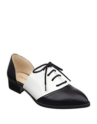 Nine West Nevie Leather Cutout Oxfords Black White