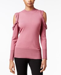 Thalia Sodi Ruffled Cold Shoulder Sweater Only At Macy's Medieval Rose