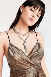 Luv Aj Baroque Tassel Wrap Necklace Silver