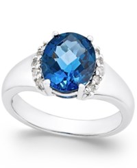 Macy's London Blue Topaz 3 1 5 Ct. T.W. And Diamond Ring 1 6 Ct. T.W. In Sterling Silver