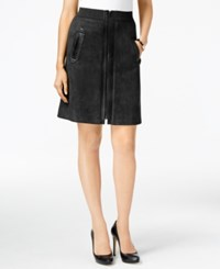 Eci Faux Suede Mixed Media A Line Skirt Black Black Pleather