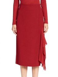 Akris Buckled Wool Wrap Skirt Miracle Berry