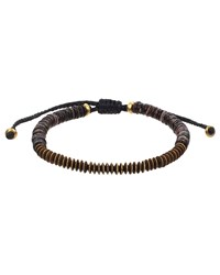 Mach Speed Men's Disk Bead Pull Cord Bracelet Brown