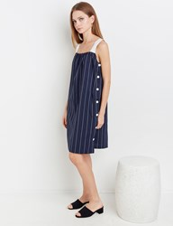 Pixie Market Pinstripe Button Side Dress