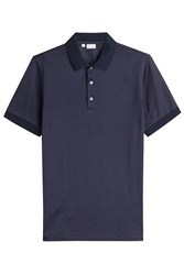 Brioni Printed Cotton Polo Shirt With Silk Blue