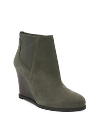Tahari Cora Suede Wedge Ankle Boots Truffle Grey