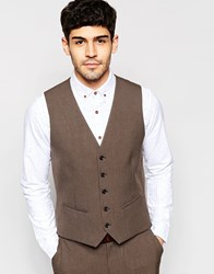 Selected Homme Skinny Houndstooth Vest With Stretch Brown