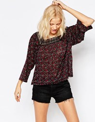 Only Long Sleeve Floral Top With Crochet Neckline Night Sky Navy