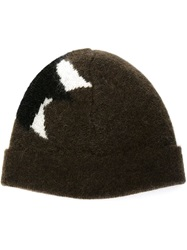 Neil Barrett Star Intarsia Beanie Brown