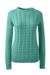 Lands' End Women S Drifter Mixed Stitch Crew Neck Forest