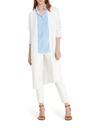 Lauren Ralph Lauren Plus Chevron Knit Duster Cardigan White