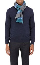 Inis Meain Men's Striped Wool Scarf Grey