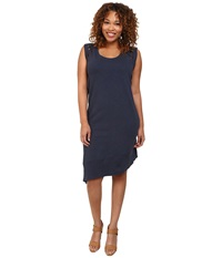 Dkny Plus Size Embroidered Eyelet Dress Mood Indigo Women's Dress Navy