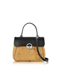 Alviero Martini Miss Geo Small Canvas And Leather Suoulder Bag Black