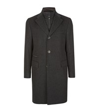 Corneliani Pure Cashmere Melange Overcoat Male Dark Grey