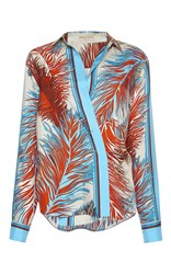 Emilio Pucci Feather Print Silk Blouse Light Blue