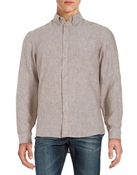 Black Brown Linen Sportshirt Light Taupe