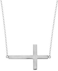 Studio Silver Sterling Silver Sideways Cross Pendant Necklace