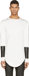 Pyer Moss White And Black Leather Sleeve Deans Shirt