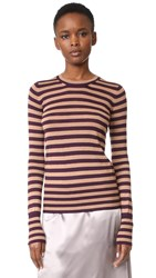 Rochas Stripe Sweater Medium Purple