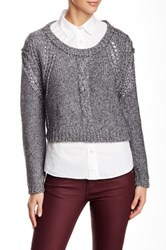 Twelfth St. By Cynthia Vincent Cropped Pullover Sweater Gray