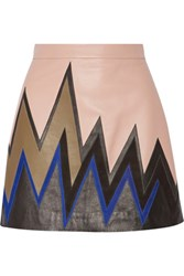 Emilio Pucci Suede Trimmed Leather Mini Skirt Beige