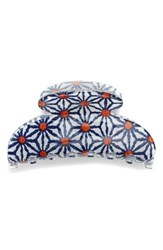 France Luxe 'Couture' Jaw Clip Blue Kaleidoscope Daisy Navy Mult