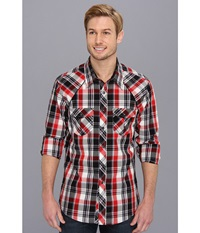 Rock And Roll Cowboy Red Plaid L S Snap Black Red Men's Long Sleeve Button Up