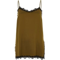 River Island Womens Khaki Green Lace Trim Cami