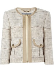 Alberta Ferretti Tweed Jacket Nude And Neutrals