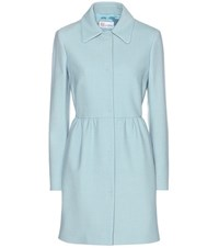 Red Valentino Cotton And Wool Blend Coat Blue