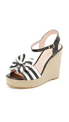 Kate Spade Darya Espadrille Wedge Sandals Black White