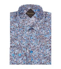 Billionaire Slim Fit Abstract Floral Print Shirt Male Blue