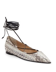 Michael Kors Kallie Snakeskin And Leather Lace Up Flats Natural