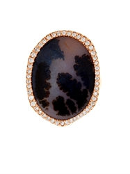 Monique Pean Diamond Agate And Rose Gold Ring