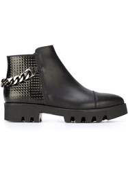 Studio Pollini Chain Detail Panelled Boots Black