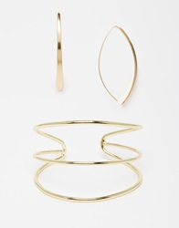 Designsix Design Six Minamilist Cuff And Earring Set Gold